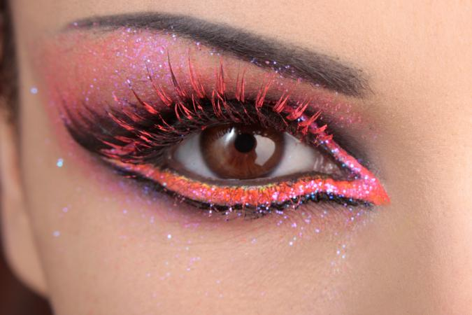 closeup eye with pink makeup