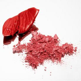 Red makeup for cheek color
