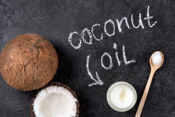 coconut oil and writing on chalkboard