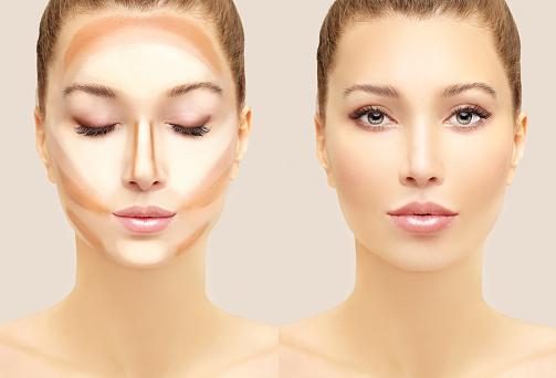 woman face with contour makeup