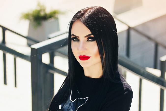 Woman wearing Gothic-style makeup