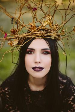 woman with romantic gothic makeup