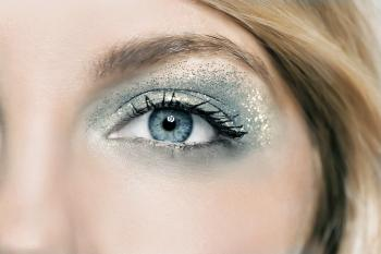 Close up of glitter open eye