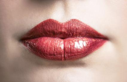 Shiny red lips