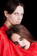 Ghoulish couple in horror makeup