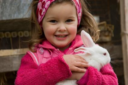 Niña sosteniendo un conejo