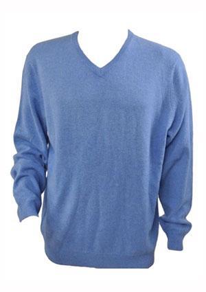 Blue V-neck Cashmere Sweater