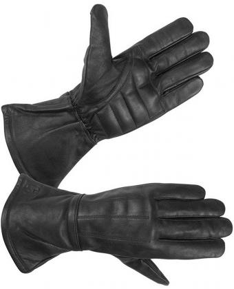 Mens Water Resistant Deerskin Leather Motorcycle Gauntlet Gloves with Padded Palm