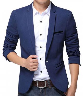 Pishon Slim Fit Casual One Button Solid Blazer Jacket