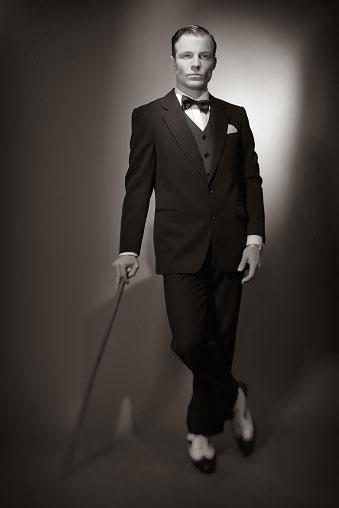 Black suit and bow tie
