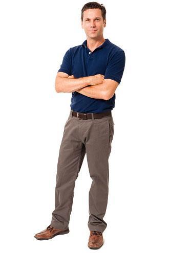 Man in blue polo shirt