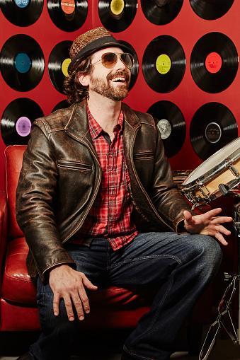 musician wearing leather jacket