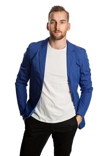 male in blue jacket
