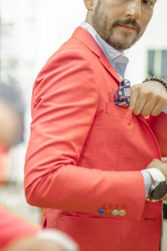 Bright peach-colored suit jacket