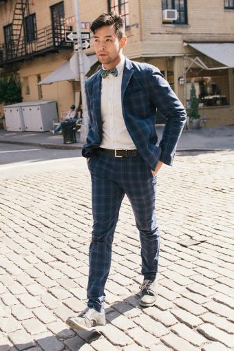Blue plaid suit jacket and pants