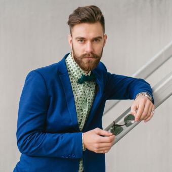 Fashionable man with green shirt