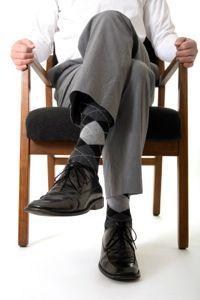 Man in suit wearing argyle socks