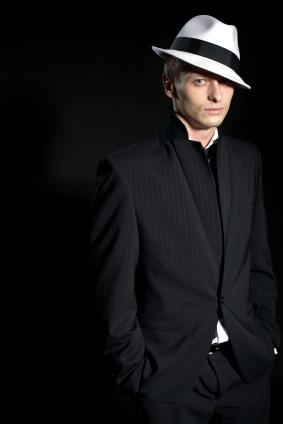 man with fedora and retro style suit