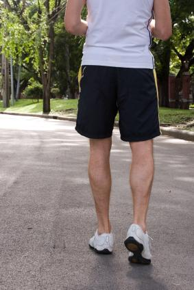 Man in athletic shorts
