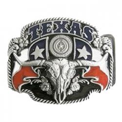 Texas pride long horn skull belt buckle