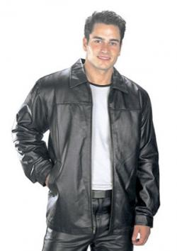 USA Leather Classic Mens Black Leather Hip Length Jacket