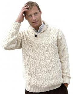 Aran Crafts Shawl Collar Sweater at Amazon.com