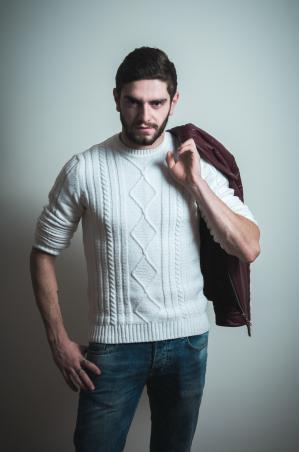 Dark Wash Denim and Cream Sweater