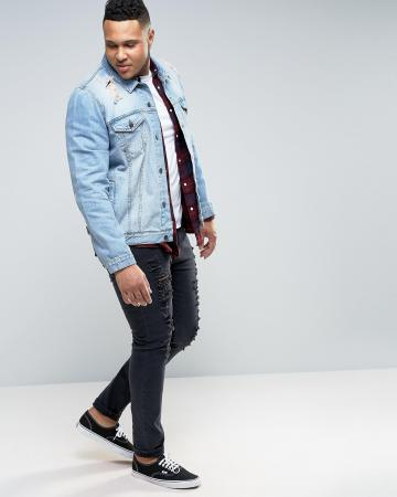 ASOS PLUS Denim Jacket in Mid Wash With Rips
