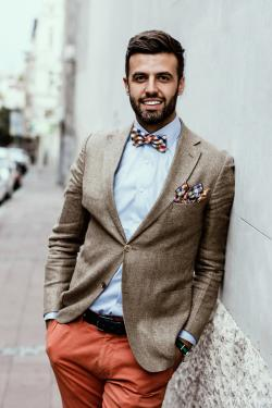 Eye-catching bow tie and bright pants