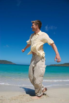 Man wearing cargo pants at the beach
