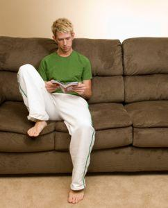 man on sofa in lounge pants