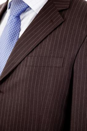 Closeup of a stylish pin-striped man's suit