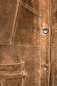 detail of suede jacket front