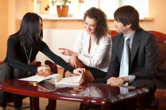 Couple meeting with a mortgage broker