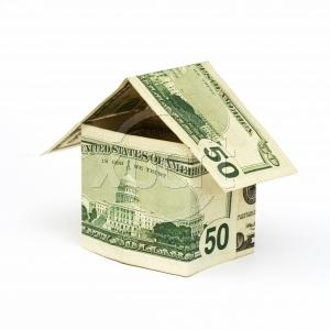 House made out of $50 bills