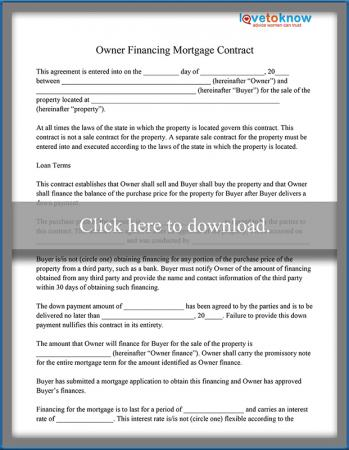 Owner Financing  Home Sales Agreement Template