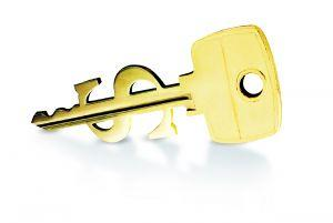 House key cut in dollar sign shape