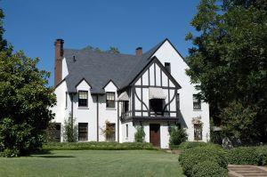 Tudor-style home on a sunny day