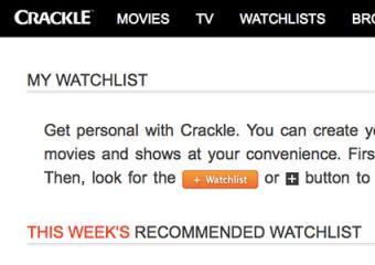 Screenshot of Crackle watchlist