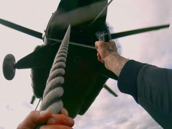 Stuntman jumping from helicopter