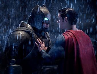 Batman and Superman facing off