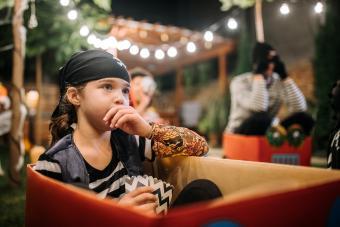 Little girl pirate costume at Halloween movie night