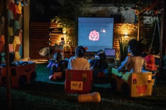 Backyard halloween movie night