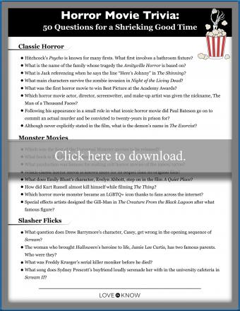 Horror Movie Trivia Questions Printable