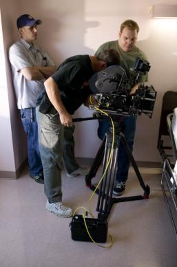 Filming in a studio