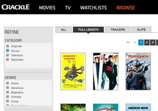 Screenshot of Crackle browse