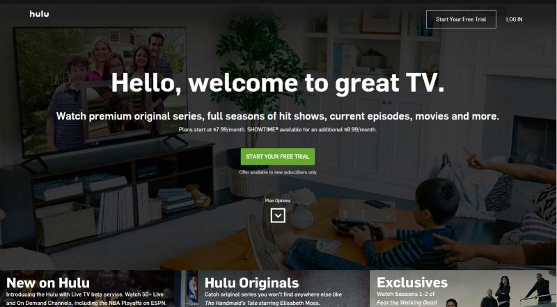 Screenshot of Hulu