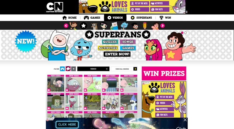 Screenshot of Cartoon Network