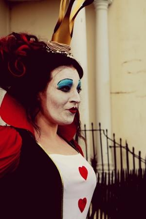 Woman Dressed Up As Queen Of Hearts