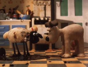 Scene from Wallace and Gromit